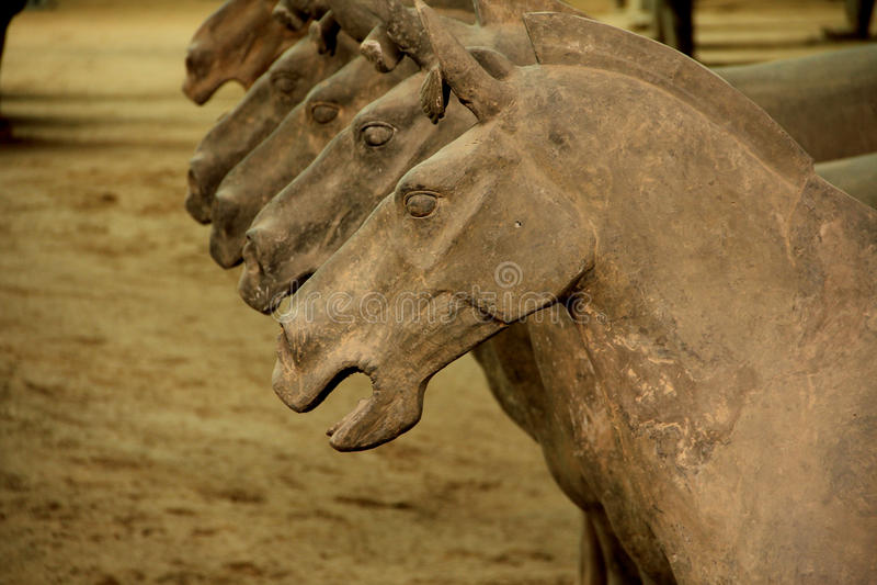 kinesiska hästterrakottakrigare arkivbilder