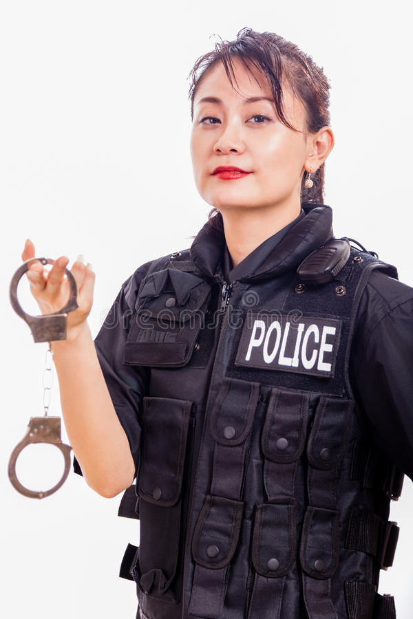 Kinesiska kvinnliga polisinnehavhandbojor arkivbild
