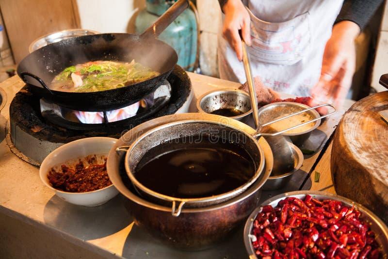 Kinesiska livsmedelsproduktionmaterial royaltyfri bild