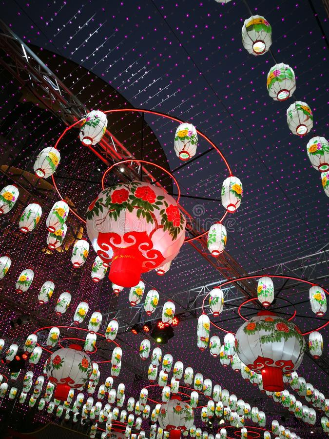 Kinesiska ljus för nytt år arkivfoton