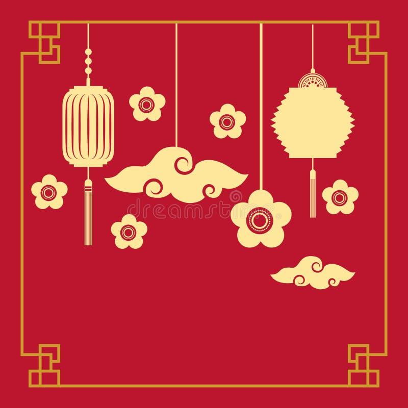 kinesiska lykta- och blommagarneringar royaltyfri illustrationer