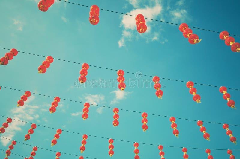 Kinesiska lyktor för nytt år med retro filtereffekt arkivfoton