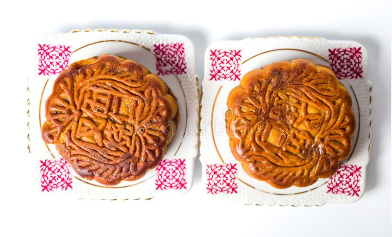 Kinesiska Mooncakes för Mitt--höst festival på en platta royaltyfri fotografi