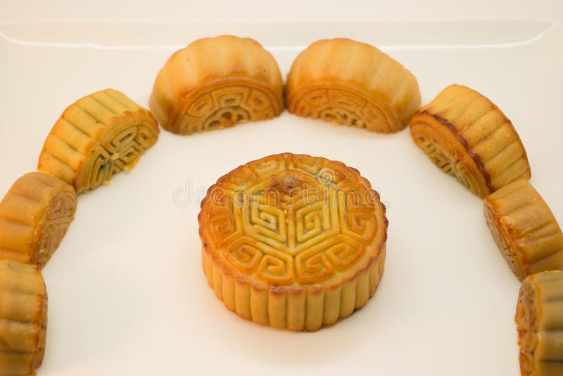 Kinesiska mooncakes i en cirkel arkivfoton