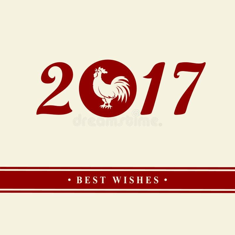 2017 kinesiska nya år av tuppen Kontur av den röda hanen Zodiaksymbolet Beståndsdelar för designhälsningkort och inbjudan, stock illustrationer