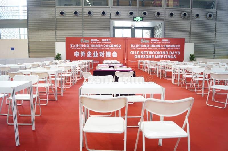 Kinesiska och utländska företag som ansluter utbytesmötesplatslandskap royaltyfri foto