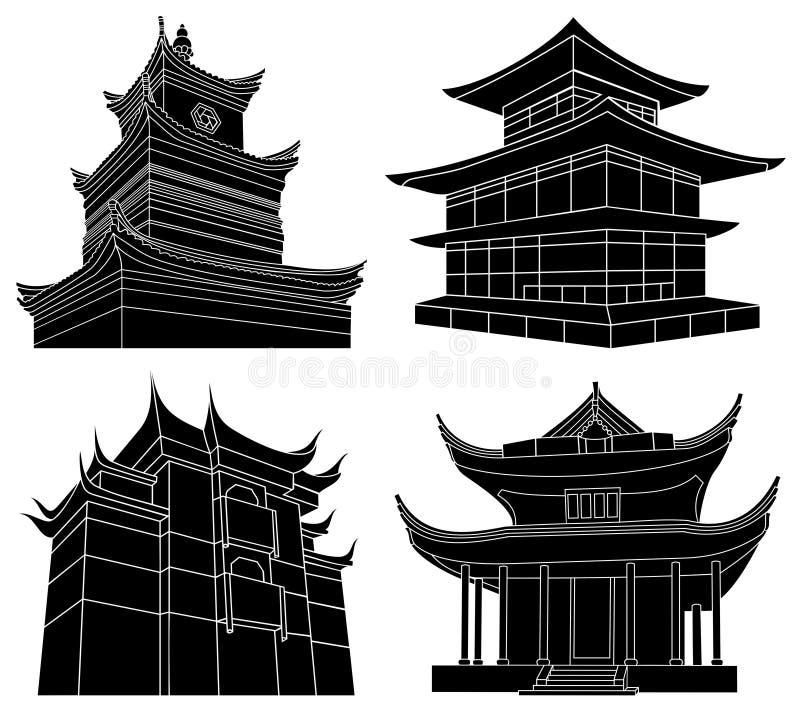 kinesiska pagodasilhouettes vektor illustrationer