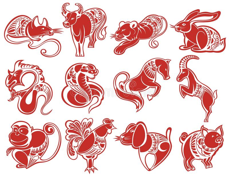 Kinesiska papercutzodiaksymboler vektor illustrationer