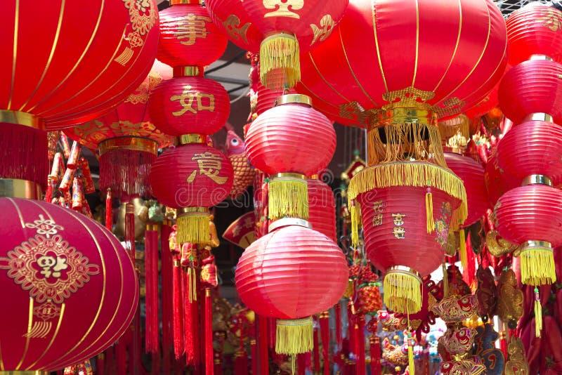 Kinesiska röda lyktor royaltyfria bilder