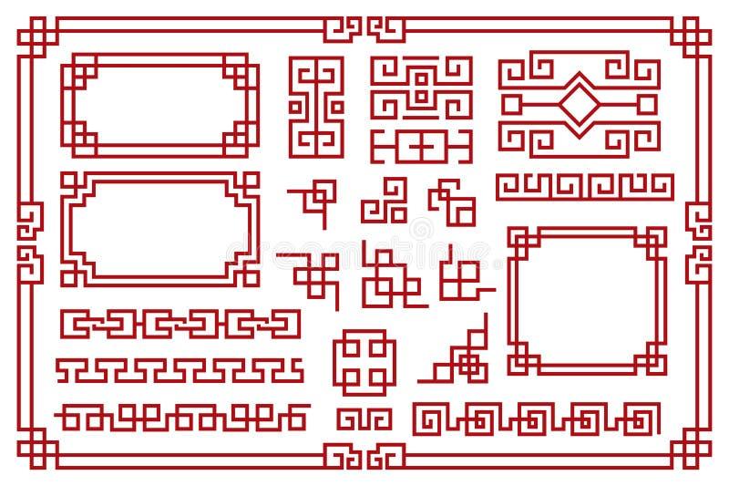 Kinesiska ramar Asiatiska nya år med dekorativa fyrkantiga kanter, röda traditionella orientaliska grafiska mönster vintage art v royaltyfri illustrationer