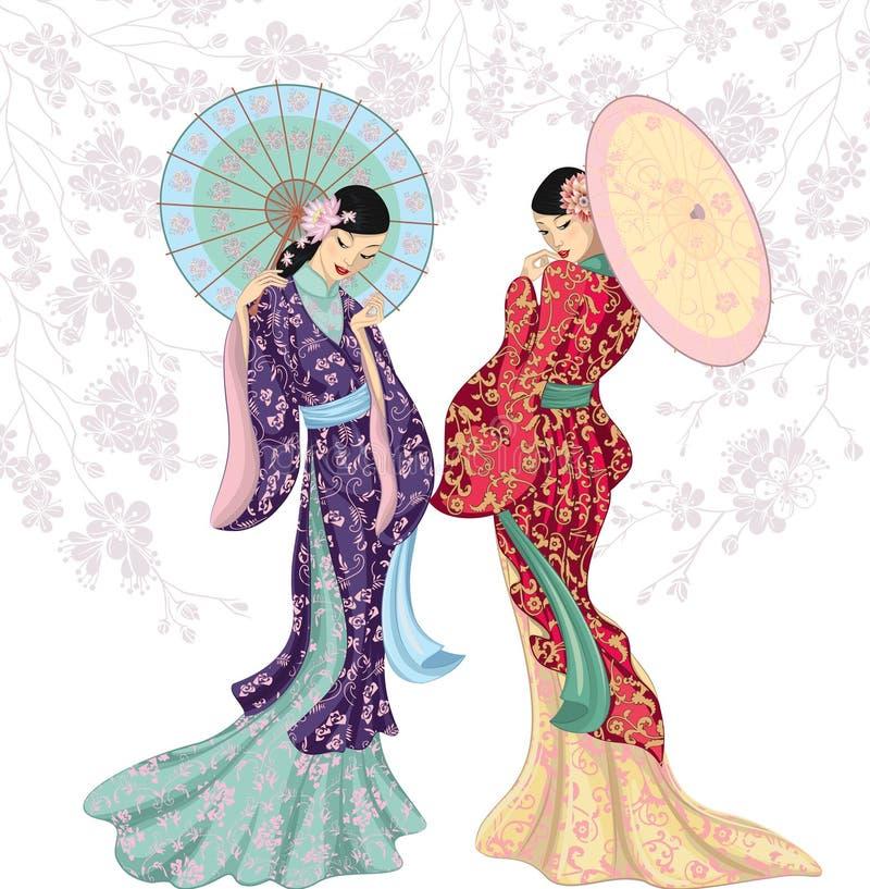 kinesiska skönhetar royaltyfri illustrationer