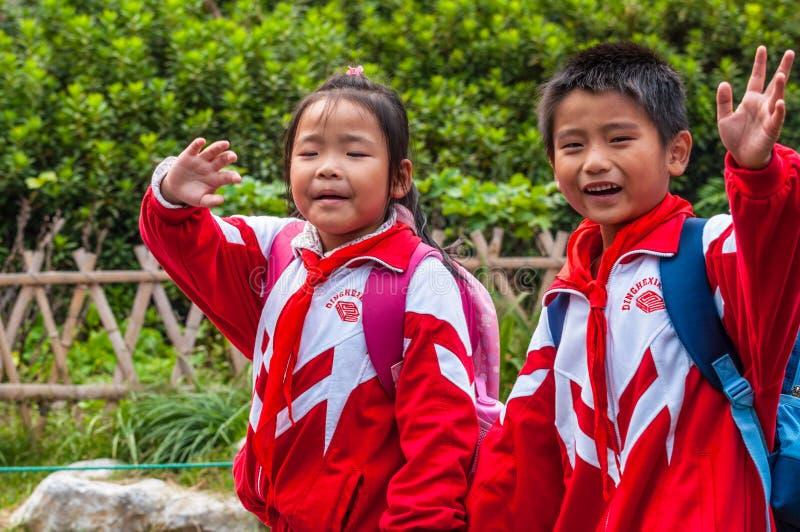 Kinesiska skolbarn fotografering för bildbyråer