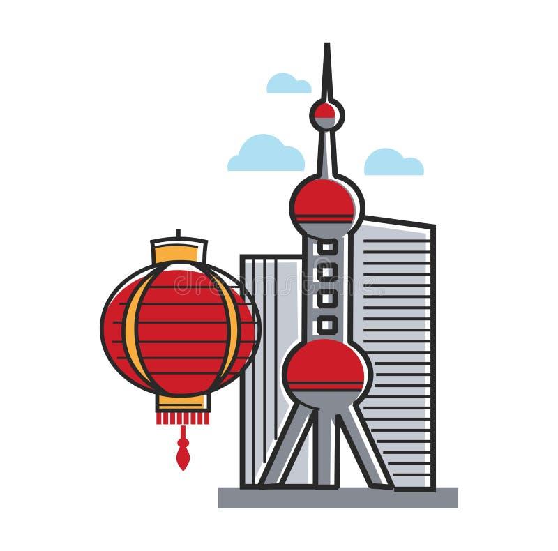 Kinesiska symboler arkitektur och lyktaShanghai lopp till Kina royaltyfri illustrationer