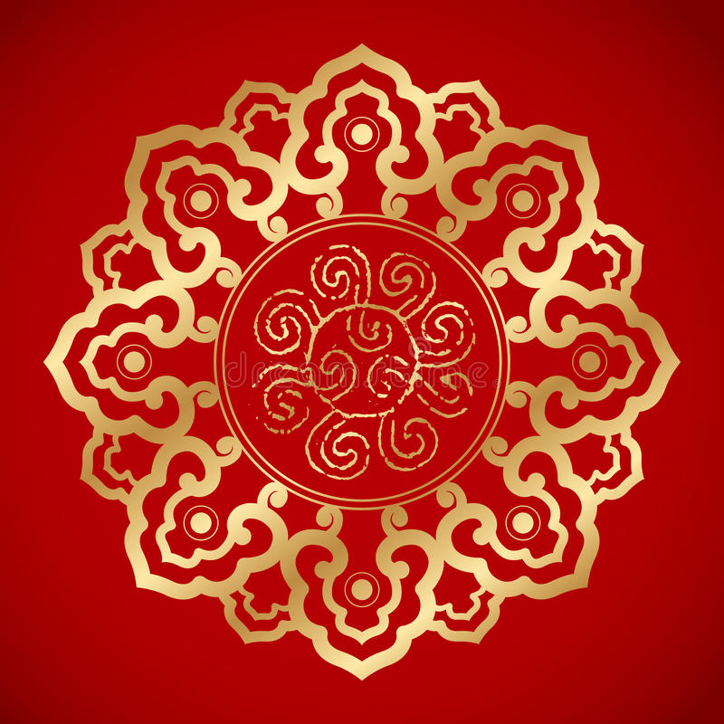 Kinesiska tappningbeståndsdelar på klassisk röd bakgrund royaltyfri bild