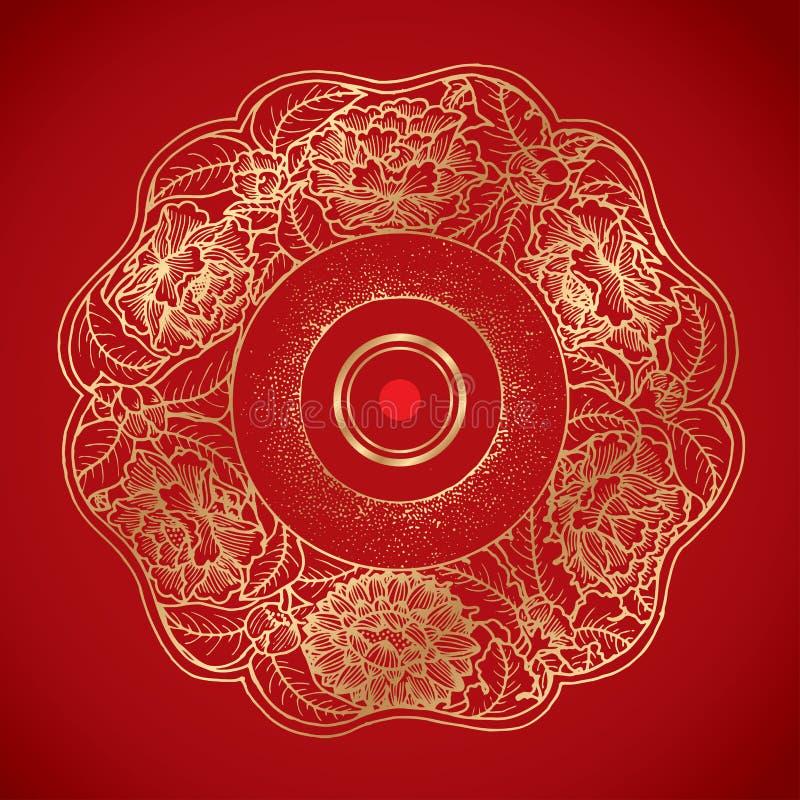 Kinesiska tappninglotusblommabeståndsdelar på klassisk röd bakgrund arkivbilder