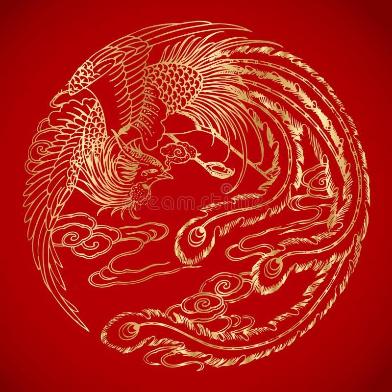 Kinesiska tappningPhoenix beståndsdelar på klassisk röd bakgrund royaltyfri fotografi