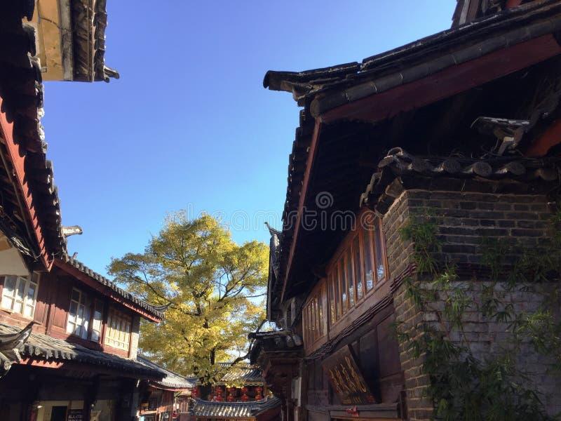 Kinesiska traditionella byggnader och tak arkivbilder