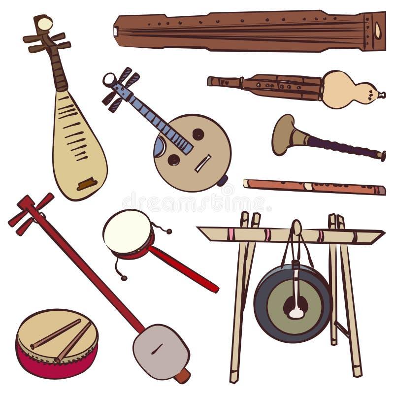 Kinesiska traditionella musikinstrument stock illustrationer