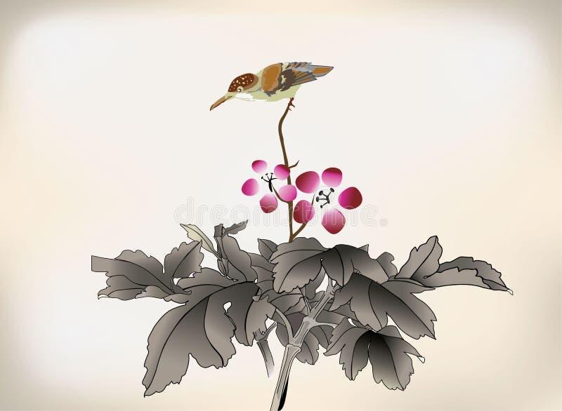 Kinesiska traditionella teckningar för färgpulverstil vektor illustrationer