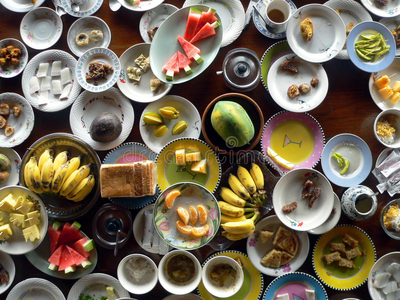 kinesiska vänstra overs för frukost arkivbild