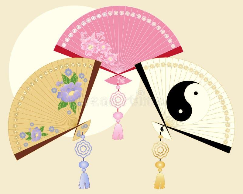 kinesiska ventilatorer vektor illustrationer