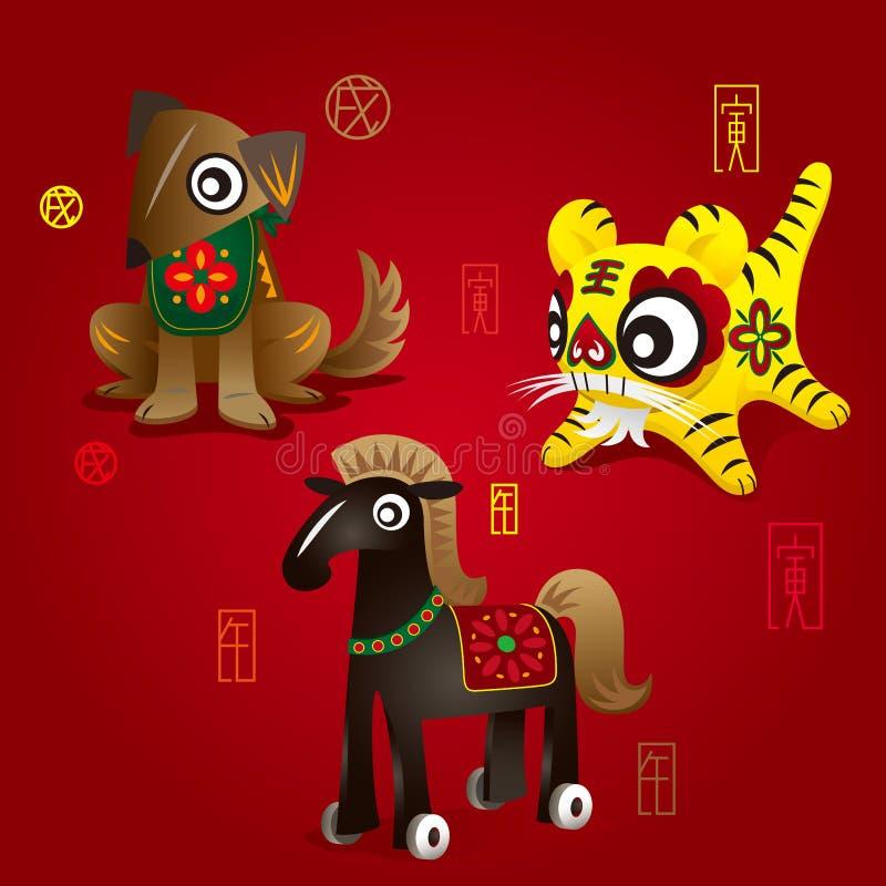Kinesiska Zodiacmaskotar: Förfölja, tigern & hästen vektor illustrationer