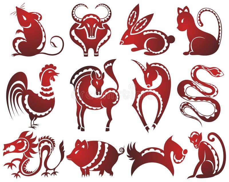 12 kinesiska zodiactecken stock illustrationer