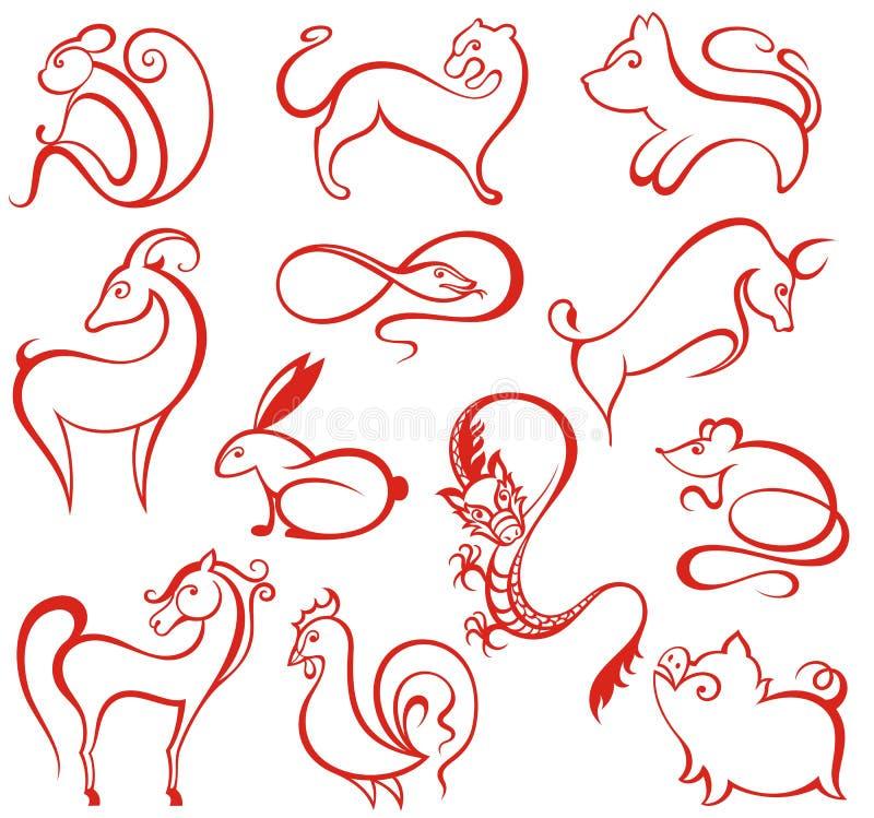 Kinesiska zodiaksymboler stock illustrationer