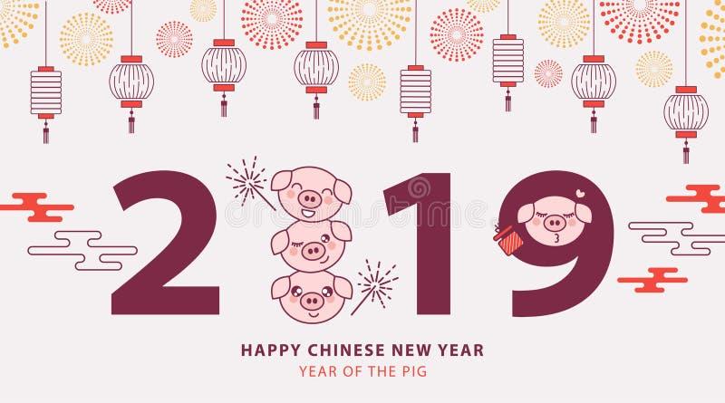 Kinesiskt baner 2019 för nytt år, affisch- eller hälsningkort med gulliga spädgrisar, traditionella lyktor och fyrverkerier vektor illustrationer