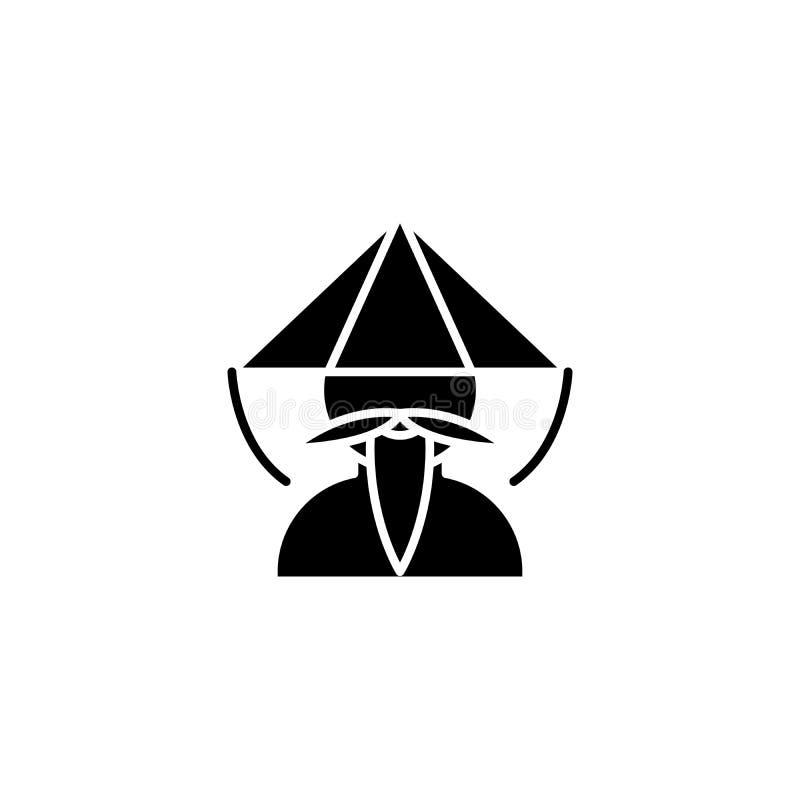 Kinesiskt begrepp för munksvartsymbol Kinesiskt symbol för munklägenhetvektor, tecken, illustration vektor illustrationer