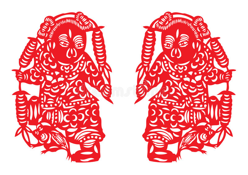 kinesiskt cuttingpapper stock illustrationer