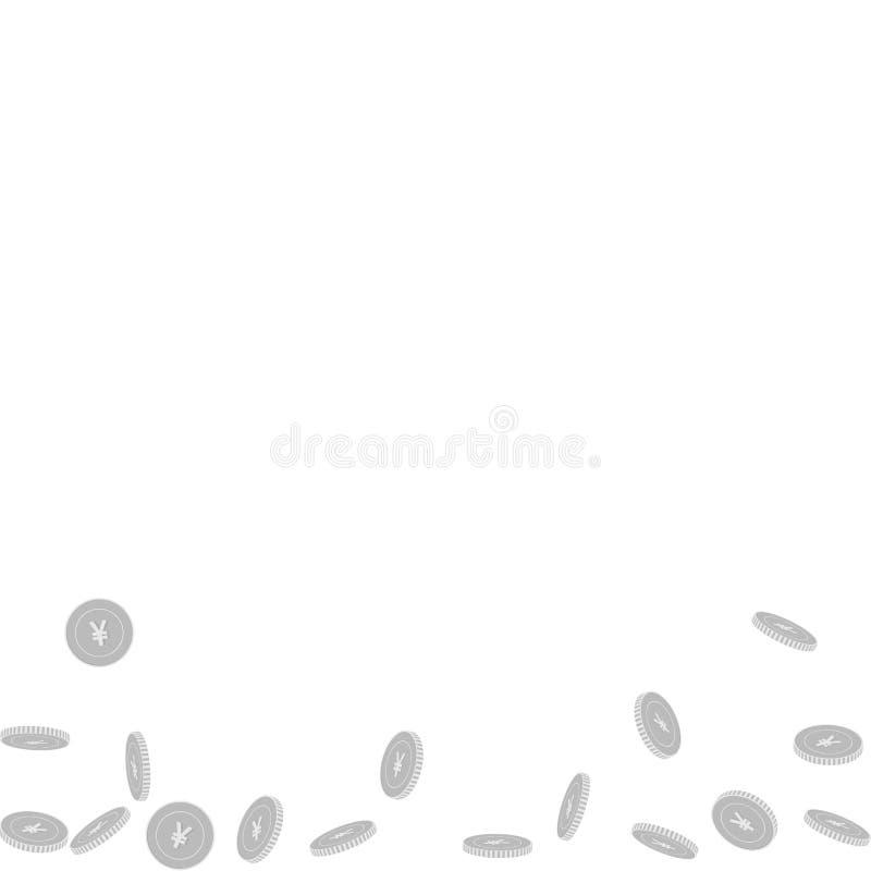 Kinesiskt falla för yuanmynt Spritt svart och wh vektor illustrationer