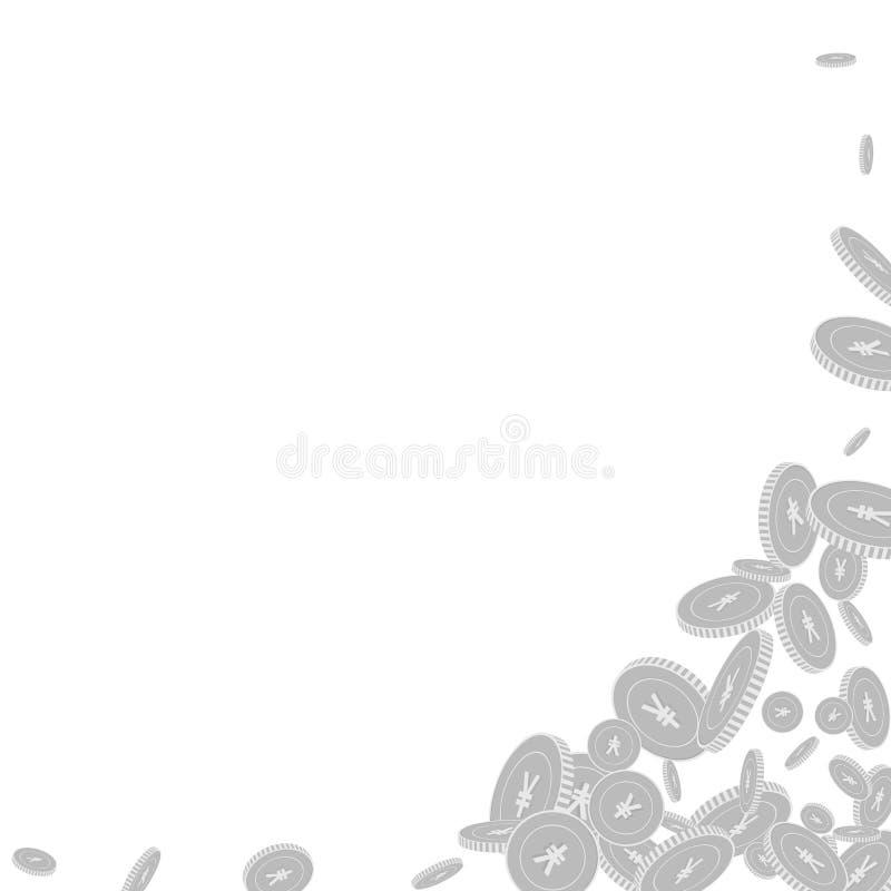 Kinesiskt falla f?r yuanmynt Spritt svart och wh stock illustrationer