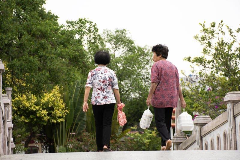 Kinesiskt folk för gamla kvinnor som går rymma mat i plastpåsen som kopplar av på bron i trädgård på Park i Guangdong, Kina royaltyfria bilder