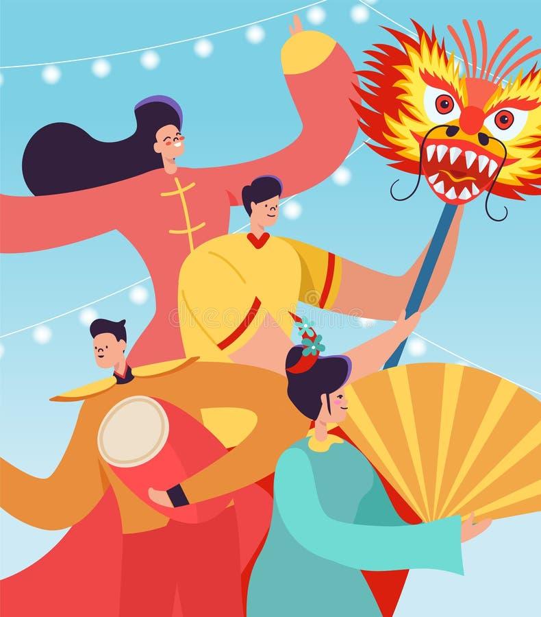 Kinesiskt folk som firar mån- nytt år Tecken för för Lion Dragon danskvinnor som och män bär den traditionella dräkten för porsli stock illustrationer