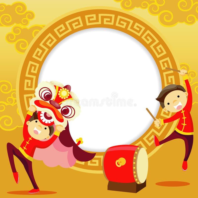 Kinesiskt hälsningskort för nytt år stock illustrationer