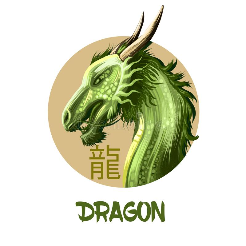 Kinesiskt horoskoptecken för drake på vit bakgrund Symbol av det nya året 2024 Grön reptil i rund cirkel med hiero royaltyfri illustrationer