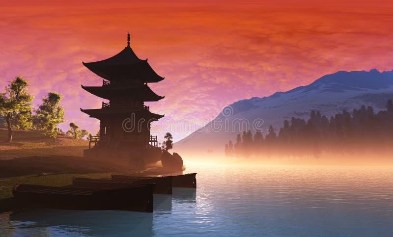 Kinesiskt hus royaltyfri illustrationer
