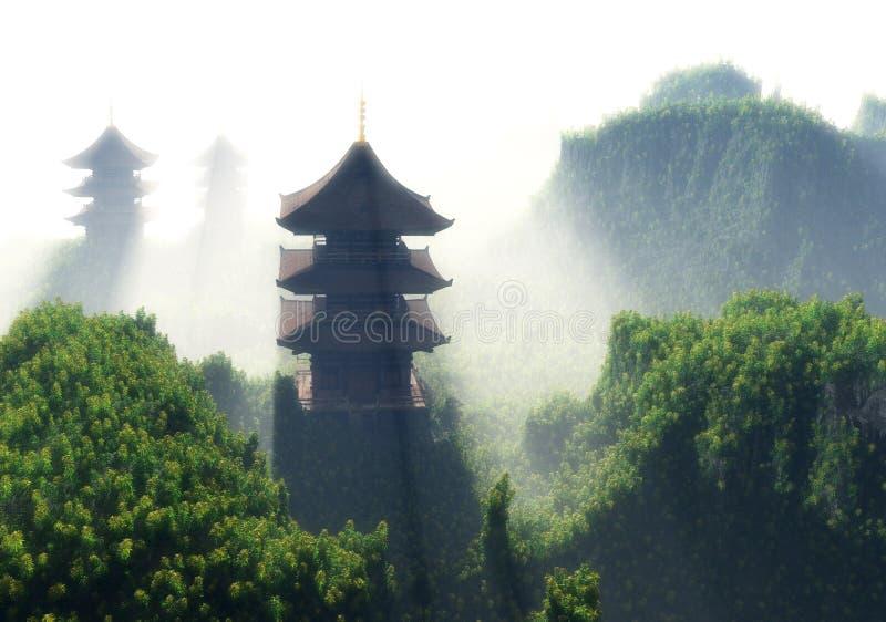 Kinesiskt hus vektor illustrationer
