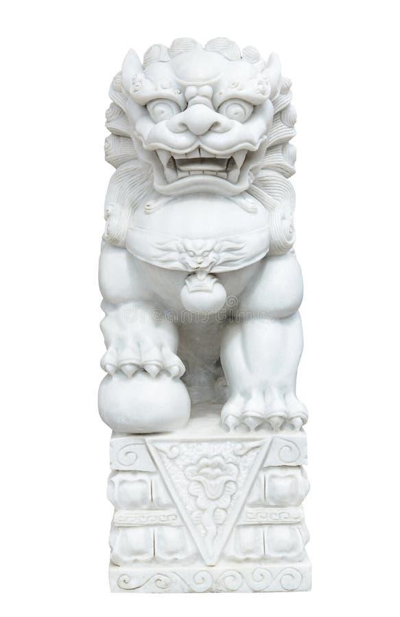 Kinesiskt imperialistiskt lejon för vit marmor, förmyndarelejon, kinesisk stil royaltyfri bild