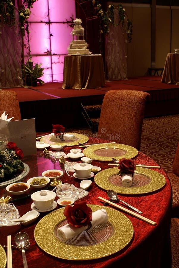 kinesiskt inställningstabellbröllop arkivfoton