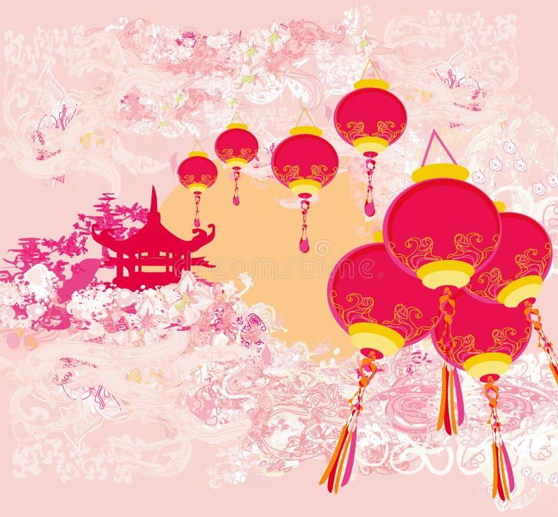 Kinesiskt kort för nytt år - traditionella lyktor och asiatiska byggnader