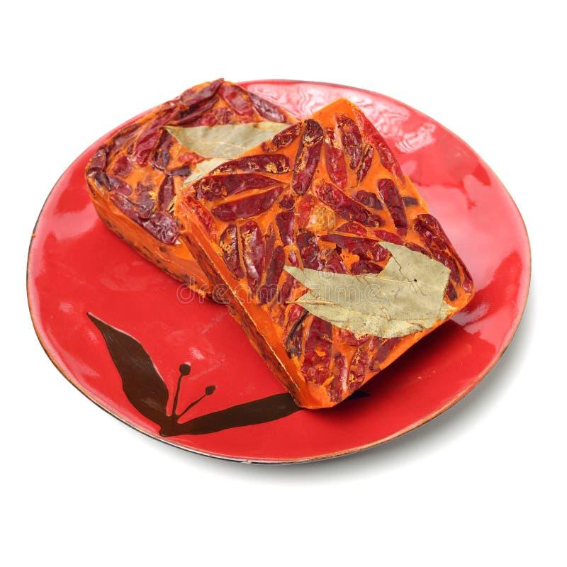 Kinesiskt kryddigt varmt krukabottenmaterial royaltyfri fotografi