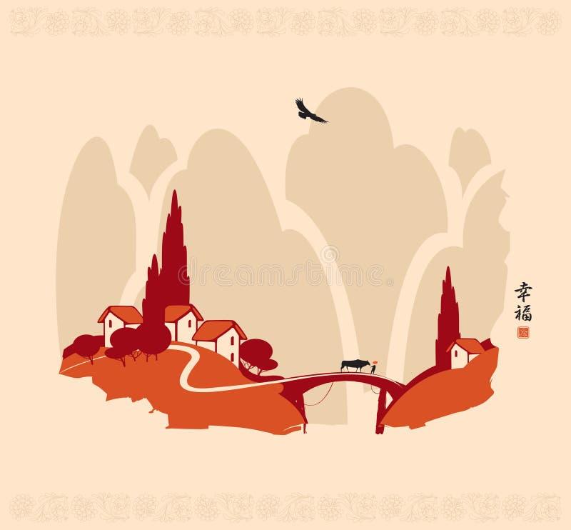 Kinesiskt landskap stock illustrationer