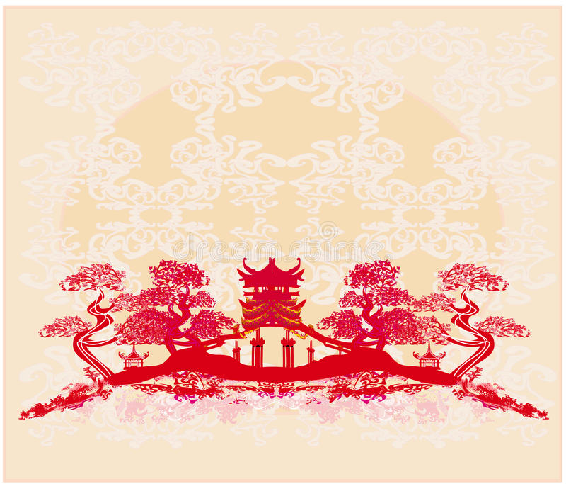 Kinesiskt landskap - abstrakta forntida byggnader royaltyfri illustrationer