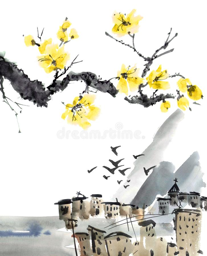 Kinesiskt landskap för gammal stad med blomningträdfilialen arkivbilder