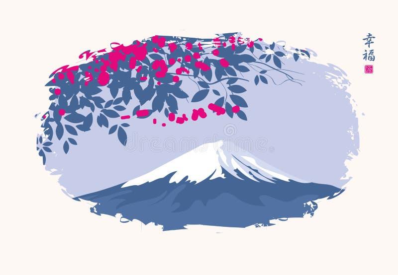 Kinesiskt landskap med den blomningträdet och monteringen royaltyfri illustrationer
