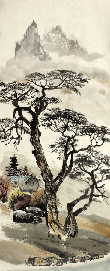 Kinesiskt landskap med ett träd arkivbilder