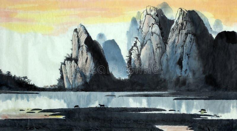 Kinesiskt landskapberg och flod vektor illustrationer