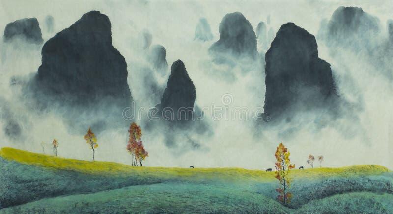 kinesiskt liggandeberg stock illustrationer